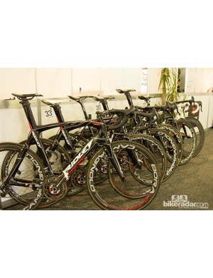 Lotto-Belisol brought a mix of Noah Fast and Helium SL - Greipel's is hard to miss amongst the black bikes