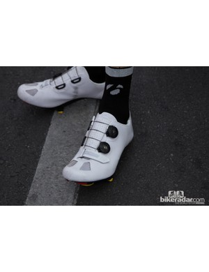 Frank Schleck's new Bontrager shoes - these are a prototype that haven't been seen before - the Boa system is a first for the brand