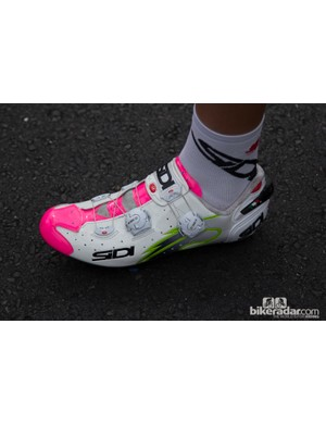 Diego Ulissi and the rest of team Lampre-Merida were wearing team issue Sidi Wire Carbon