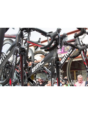 Team BMC had a mix of bikes on hand - Team Machines, Impecs and strangely this Time Machine with road components and positioning