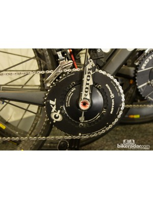 Garmin-Sharp's rider Steele von Hoff uses the ovalized Rotor QXL rings – a claimed more efficient pedal stroke and greater power are some of the reasons behind this