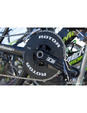 A solid Rotor chainring is featured on this spare Lampre-Merida bike, no power-meter crank here
