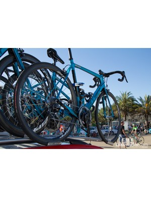 Drapac Professional Cycling's team colours are red, white and black. These blue team bikes clearly identify the team's training bikes - these double as race-day spares too