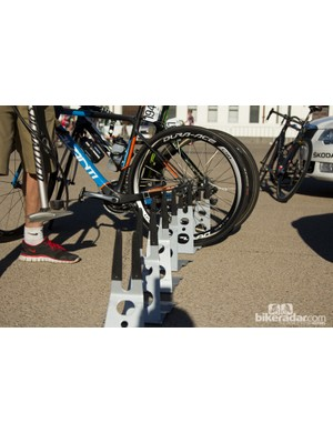 Team Uni-SA were the only team to have bike stands at race starts - every other team just used the team car or a fence as stands