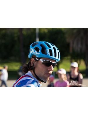 Garmin-Sharp rider Thomas Dekker in the new POC Octal helmet (the non aero version)