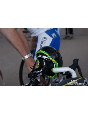 The young pocket rocket - Caleb Ewan - with a little Aussie trim on an otherwise blacked out aero-road helmet