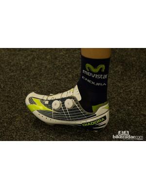 Movistar and a team-issue Diadora Vortex-Pro shoe
