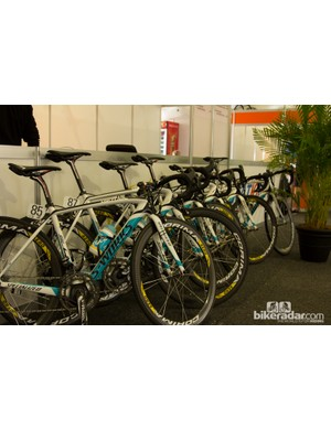 Team Astana bikes are ready to roll