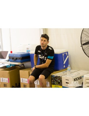 A bunch of Wahoo Kickr boxes show that Team Sky had just recieved them