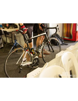 The owner of BMC-Racing International and Phonak hearing systems - Andy Riis - riding a mid-range BMC Gran Fondo with Ultegra