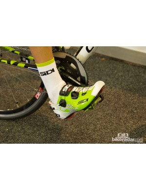 George Bennett of Team Cannondale spins with Team Issue Sidi Wire Carbon shoes