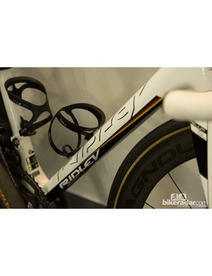 German Champion André Greipel was clearly being looked after by the team - for the hillier stages he rode a lighter Helium SL with custom paint