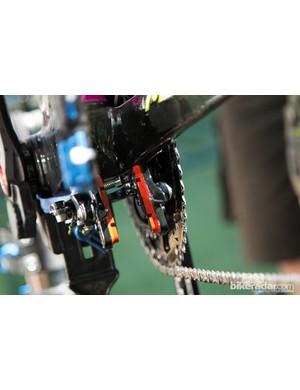 The Merida Reacto Evo of Lampre-Merida hides the rear brake underneath the chainstays