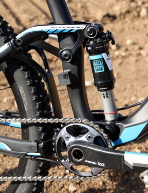 The Giant Trance Advanced 27.5 0 can be used with or without a front derailleur. It's nice that the vestigial mount is capped here but we'd prefer that it be removable altogether