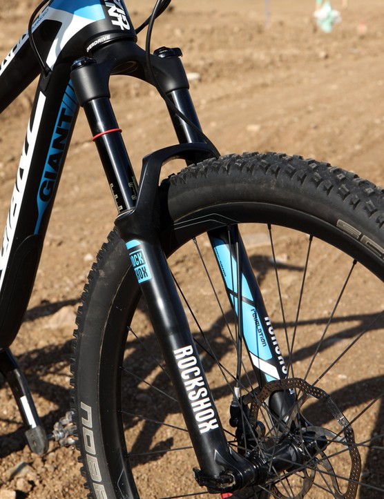The 140mm travel RockShox Revelation RLT3 is highly capable with a relatively accurate-steering chassis and a smooth stroke. Small bump sensitivity could be better and the spring rate seems rather linear, though, and given the frame's handling prowess we would have preferred to see a more aggressive Pike instead