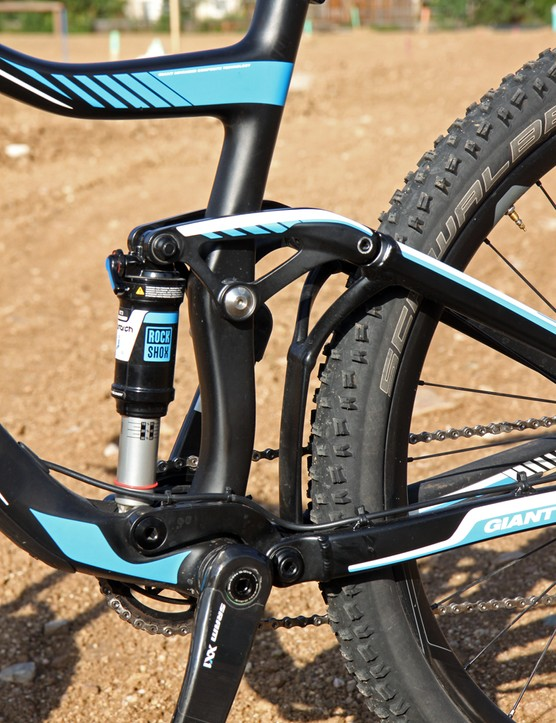 Giant sticks to its tried-and-true Maestro suspension design but felt the shift to 1x drivetrains warranted moving the virtual pivot point down 8mm. Unfortunately, pedaling efficiency actually degrades substantially as a result, with lots of squat under power. Turning on the platform valving on the rear shock helps significantly but given the shock placement, it's a long reach down