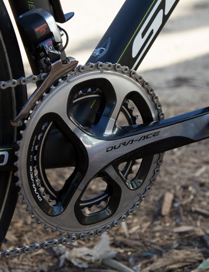 While a SRM sponsored rider, Gerrans' race bike featured a standard 9000 series crank