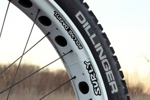 The stock Surly Rolling Darryl rims are a whopping 82mm wide and a good match for the 4in-wide 45NRTH Dillinger tires