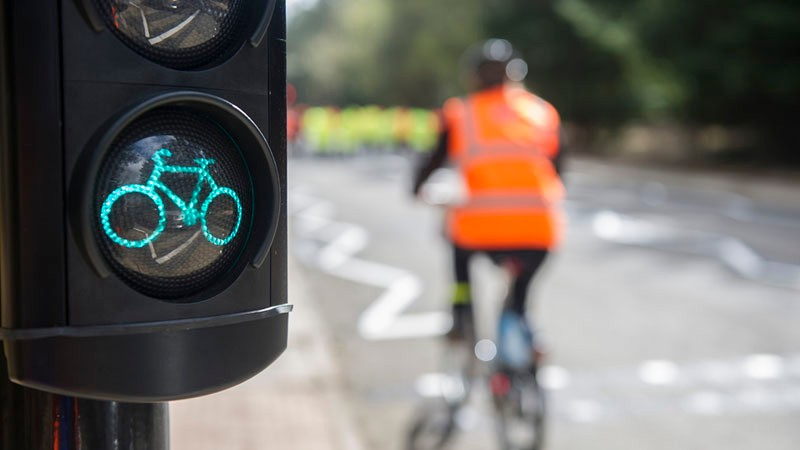 Low level early start traffic lights have been installed at Bow roundabout in London