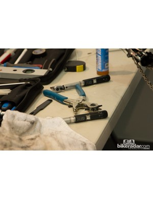 Even among the professionals, torque wrenches are a vital tool. This mechanic was using two to reduce time wasted with bit swapping