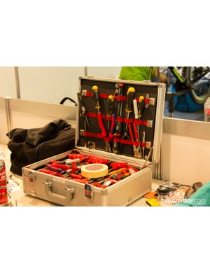 A box full of German tools is a good sign that this mechanic isn't local to Australia