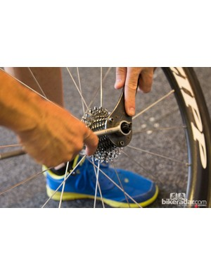 The Abbey bike tools Crombie tool. It allows the Drapac Cycling mechanic to remove the cassette without removing the quick-release skewer
