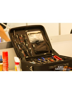 Some mechanics didn't bring their normal tool boxes, instead opting for lighter (and smaller) soft cases