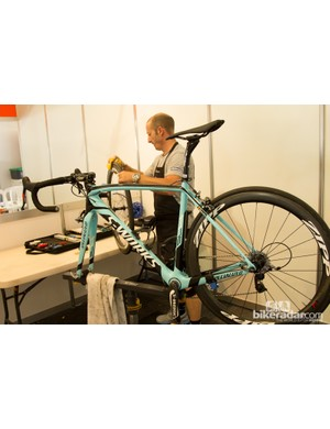 The Omega Pharma-Quick Step mechanic preps a bike for the next day