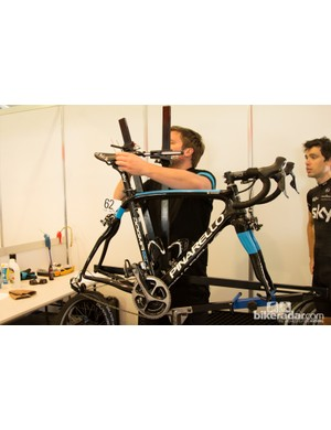 The Team Sky measurement jig was one of the more refined on hand - precise measurements are ciritical for performance
