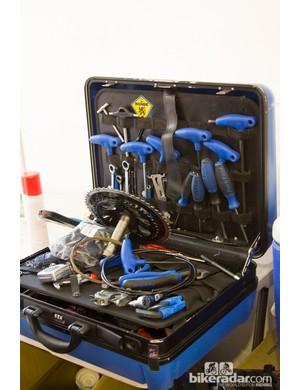 A Team Sky tool box - plenty of Park Tool blue