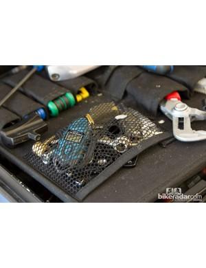 A closer look at the tool box of Team Sky - digital pressure gauge, torque key and plenty of little gadgets