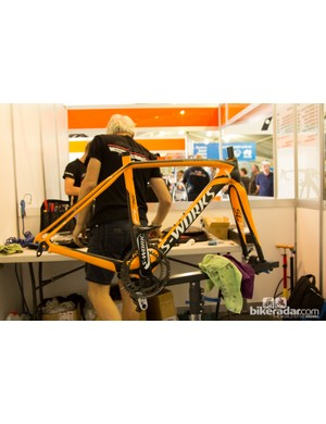 Surplus team frames aren't an option at the Tour Down Under. Here an Astana mechanic does a rebuild without the team-issue frame