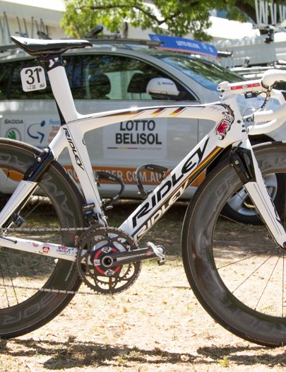 We photographed Andre Greipel's bike just before the People's Choice Classic Criterium - an opening event of the Santos Tour Down Under