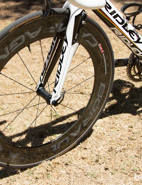Deep Campagnolo Bora Ultra 80 wheels were used for the opening Criterium, but Greipel moved to a shallower 50mm wheel after that