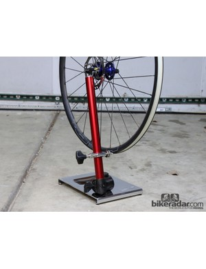 Feedback Sports' latest Pro Truing Stand is a tidy one-armed solution to keeping your wheels straight and round