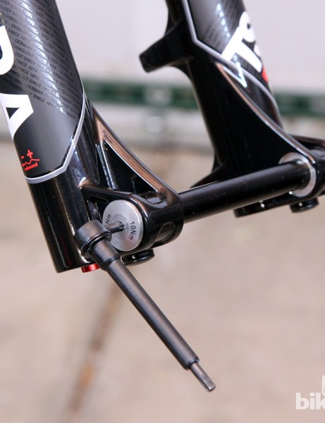 Magura's take on a quick-release through-axle requires a tool - but it's conveniently stored in the other end of the axle