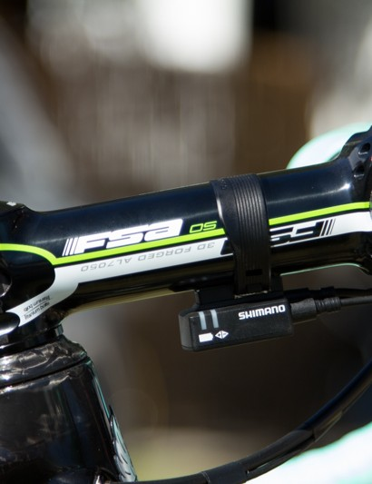 At 6ft 2in, Gesink uses a long 140mm stem in conjunction with a 59cm frame