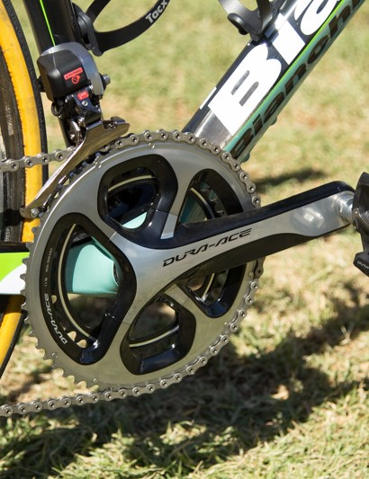 Belkin are sponsored by Pioneer, yet Gesink's bike was completely free of any power meter when we saw it