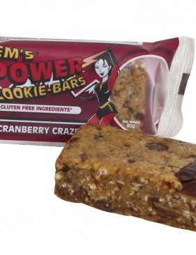 Em's Power Cookie Bars now have a gluten-free option - chocolate cranberry craze flavour