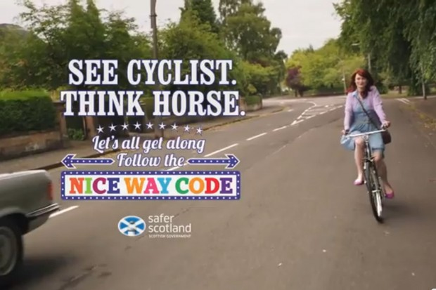 ASA has banned the Cycling Scotland ad on grounds of the non-helmet wearing cyclist riding too far from the kerb