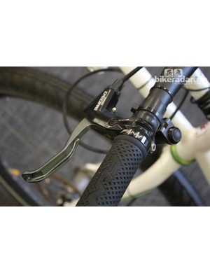 This Shimano Deore mechanical brake lever has been repurposed to work as a release for the tow connection at the front of the bike
