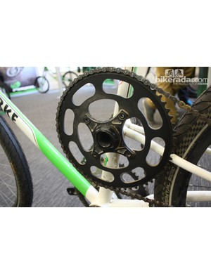 The second of Hope's two custom 60-tooth chainrings used on this bike - notice that power is transferred to the left side of the bike from the right