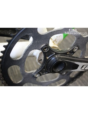 Both the crankset and chainrings are custom parts produced by Hope