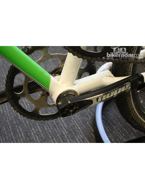 The eccentric bottom bracket shell can be used to fine-tune chain tension for one of the sets of gears
