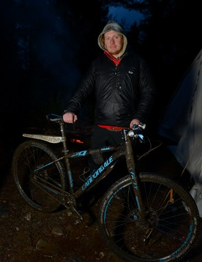 Here's Tom and his rigid singlespeed Cannondale - already looking a bit weary and very muddy
