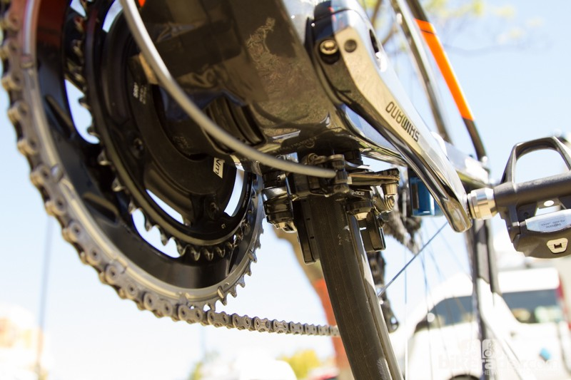 The direct-mount rear brake isn't ideal for the mechanics who use frame mount workstands