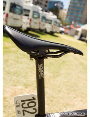 Haig currently uses a Specialized Romin Pro saddle and a long seratpost off a mountain bike
