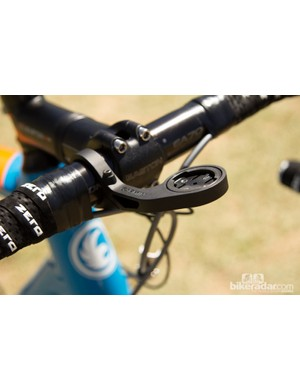 An empty Garmin Out-Front mount shows that Haig's SRM is connected to a Garmin Edge series computer