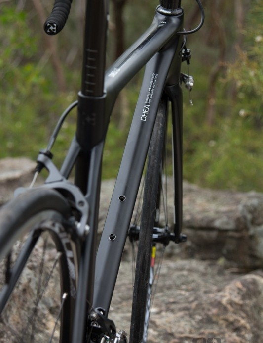A view of just how slim the Omeo is - unfortunately this also leads to some flex in the front end under power. This flex is hardly enough to influence the handling of the bike, with a stiff bottom bracket and reinforced tapered headtube handling much of the muscle work.