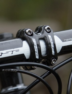 The FSA Team Issue carbon wrapped handlebar and stem are usually seen on bike's costing twice this much